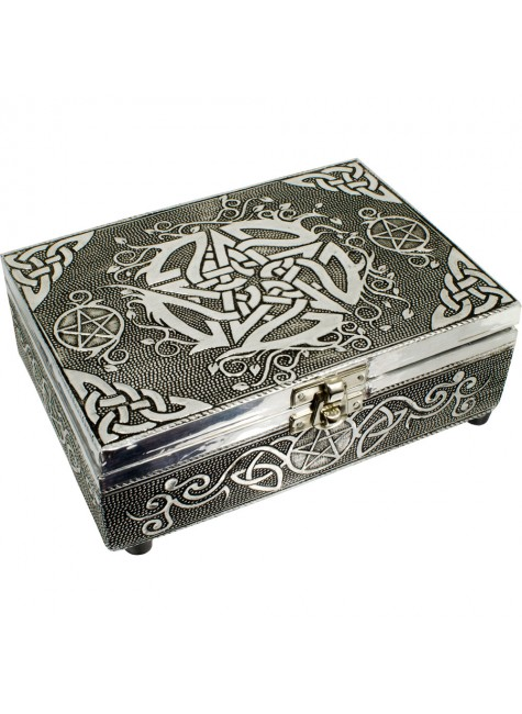 Pentacle Embossed Metal Box at Gothic Plus, Gothic Clothing, Jewelry, Goth Shoes & Boots & Home Decor