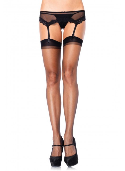 Black Spandex Ultra Sheer Garter Stockings - Pack of 3 at Gothic Plus, Gothic Clothing, Jewelry, Goth Shoes & Boots & Home Decor