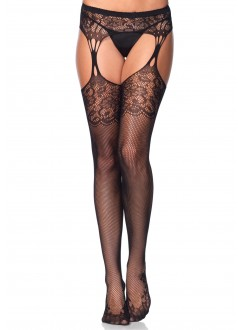Floral Lace Net Suspender Stockings  - Pack of 3 Gothic Plus Gothic Clothing, Jewelry, Goth Shoes & Boots & Home Decor