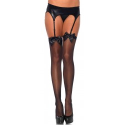 Satin Bow Sheer Thigh High Garter Stockings Gothic Plus Gothic Clothing, Jewelry, Goth Shoes & Boots & Home Decor