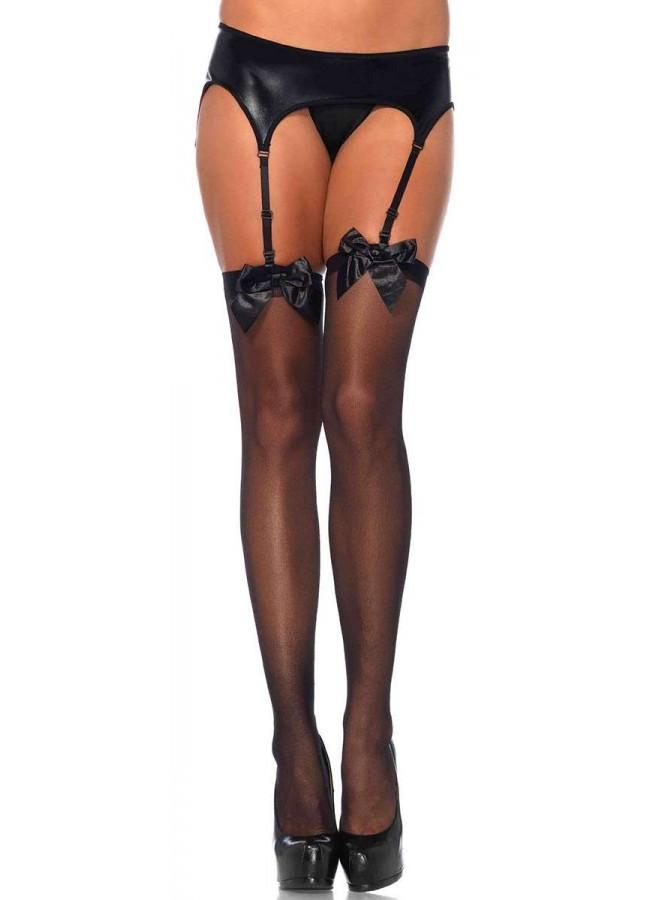8832f44ccac Satin Bow Sheer Thigh High Garter Stockings - Sexy Stockings