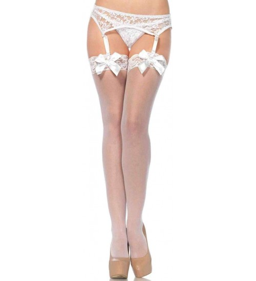 Satin Bow Lace Top Thigh High Garter Stockings at Gothic Plus,  Gothic Clothing, Jewelry, Goth Shoes, Boots & Home Decor
