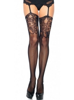Black Fishnet Stockings with Lace Jacquard Top Gothic Plus Gothic Clothing, Jewelry, Goth Shoes & Boots & Home Decor