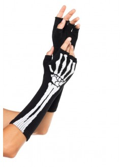 Skeleton Knit Fingerless Gloves