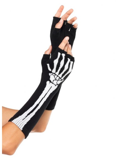 Skeleton Knit Fingerless Gloves at Gothic Plus, Gothic Clothing, Jewelry, Goth Shoes & Boots & Home Decor