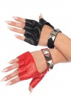Harley Quinn 2 Tone Studded Fingerless Gloves