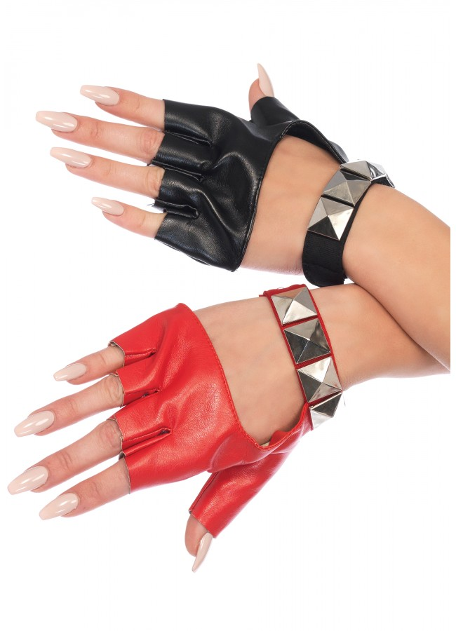 41c925fd072a2 Harley Quinn 2 Tone Studded Fingerless Gloves at Gothic Plus