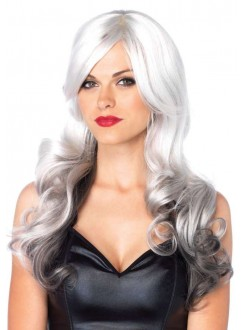 Allure Gray Wig with Black Tips Gothic Plus Gothic Clothing, Jewelry, Goth Shoes & Boots & Home Decor