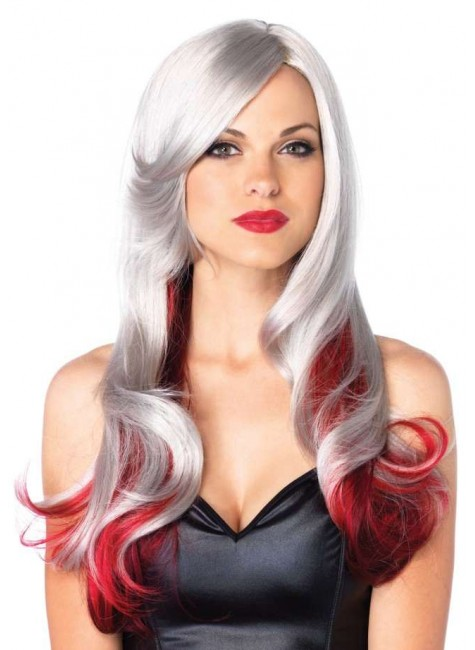 Allure Gray Wig with Red Tips at Gothic Plus, Gothic Clothing, Jewelry, Goth Shoes & Boots & Home Decor