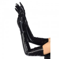 Black Wet Look Lycra Zipper Opera Gloves Gothic Plus Gothic Clothing, Jewelry, Goth Shoes & Boots & Home Decor
