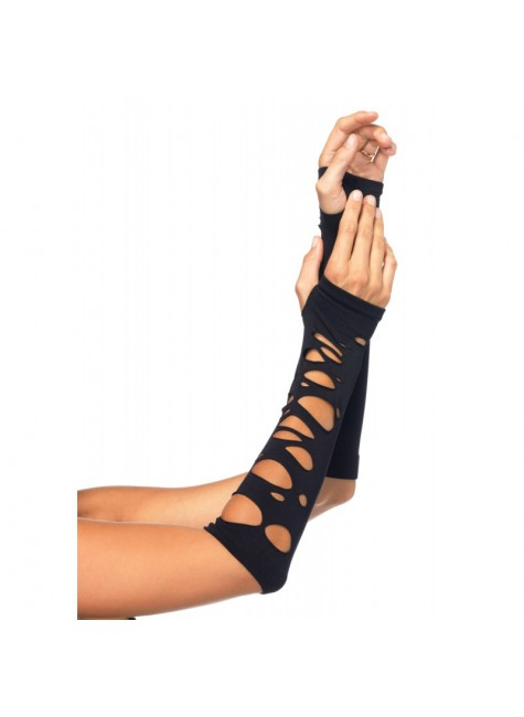 Black Shredded Arm Warmers at Gothic Plus, Gothic Clothing, Jewelry, Goth Shoes & Boots & Home Decor