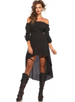 Black Gauze High Low Peasant Dress Gothic Plus Gothic Clothing, Jewelry, Goth Shoes & Boots & Home Decor