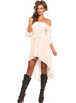 Ivory Gauze High Low Peasant Dress Gothic Plus Gothic Clothing, Jewelry, Goth Shoes & Boots & Home Decor