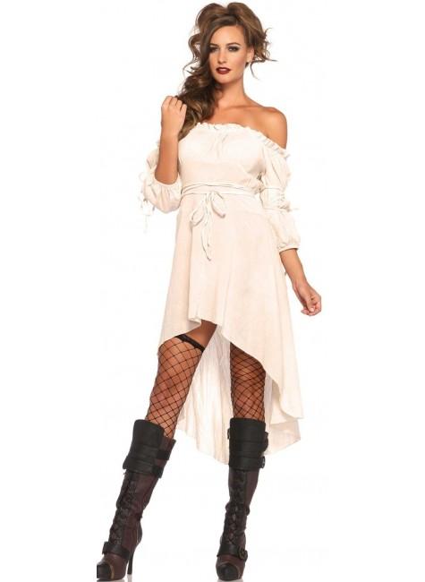 Ivory Gauze High Low Peasant Dress