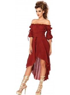 Burgundy Gauze High Low Peasant Dress Gothic Plus Gothic Clothing, Jewelry, Goth Shoes & Boots & Home Decor