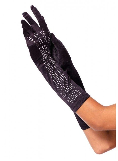 Black Rhinestone Bone Elbow Length Gloves at Gothic Plus, Gothic Clothing, Jewelry, Goth Shoes & Boots & Home Decor