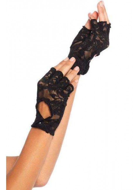 Black Lace Keyhole Back Fingerless Gloves at Gothic Plus, Gothic Clothing, Jewelry, Goth Shoes & Boots & Home Decor