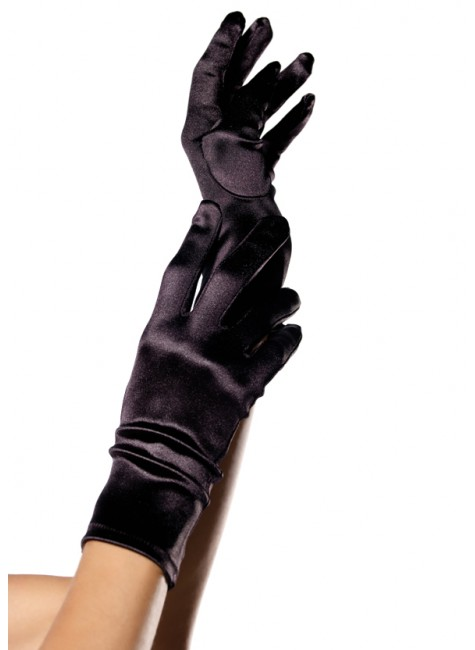 Black Wrist Length Satin Gloves at Gothic Plus, Gothic Clothing, Jewelry, Goth Shoes & Boots & Home Decor