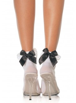 Bow and Lace Ruffle Trimmed Anklet Socks Gothic Plus Gothic Clothing, Jewelry, Goth Shoes & Boots & Home Decor