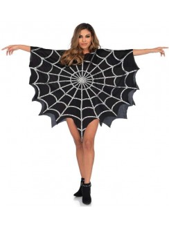 Spider Web Black Unisex Glitter Poncho Gothic Plus Gothic Clothing, Jewelry, Goth Shoes & Boots & Home Decor