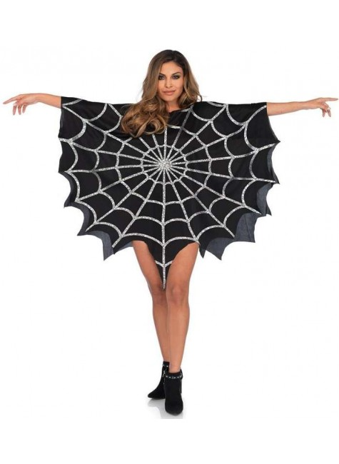 Spider Web Black Unisex Glitter Poncho at Gothic Plus, Gothic Clothing, Jewelry, Goth Shoes & Boots & Home Decor