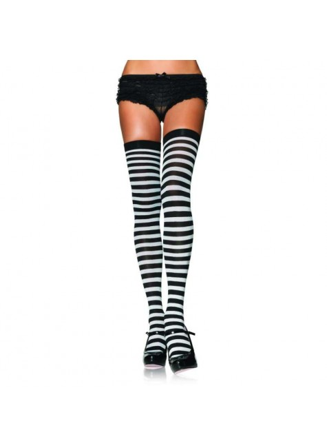 Black White Striped Plus Size Stockings 3 Pack at Gothic Plus, Gothic Clothing, Jewelry, Goth Shoes & Boots & Home Decor