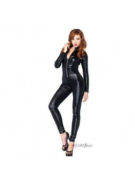 Zipper Front Black Lame Catsuit at Gothic Plus, Gothic Clothing, Jewelry, Goth Shoes & Boots & Home Decor