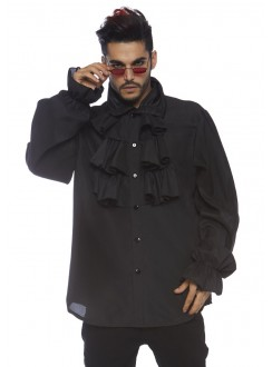 Ruffle Front Black Mens Shirt Gothic Plus Gothic Clothing, Jewelry, Goth Shoes & Boots & Home Decor