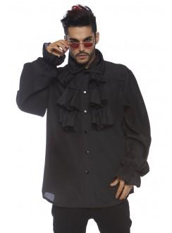 Ruffle Front Black Mens Shirt