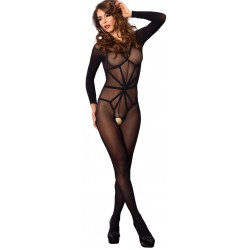 Opaque Illusion Black Bodystocking Gothic Plus Gothic Clothing, Jewelry, Goth Shoes & Boots & Home Decor