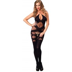 Illusion Halter Opaque Black Bodystocking Gothic Plus Gothic Clothing, Jewelry, Goth Shoes & Boots & Home Decor