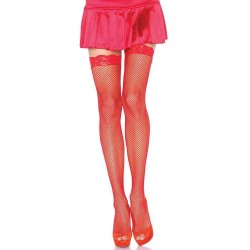 Fishnet Garter Stockings with Lace Top - Red Gothic Plus Gothic Clothing, Jewelry, Goth Shoes & Boots & Home Decor