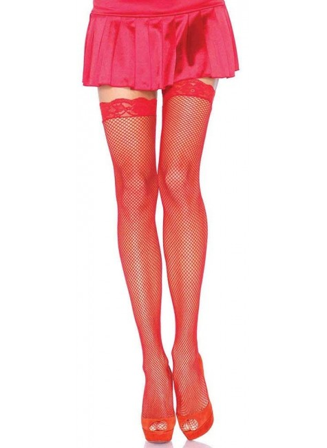 Fishnet Garter Stockings with Lace Top - Red at Gothic Plus, Gothic Clothing, Jewelry, Goth Shoes & Boots & Home Decor