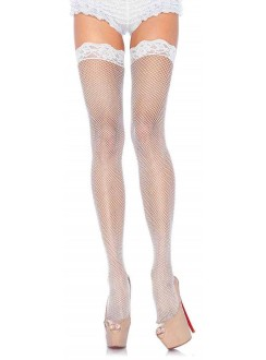 Fishnet Garter Stockings with Lace Top - White