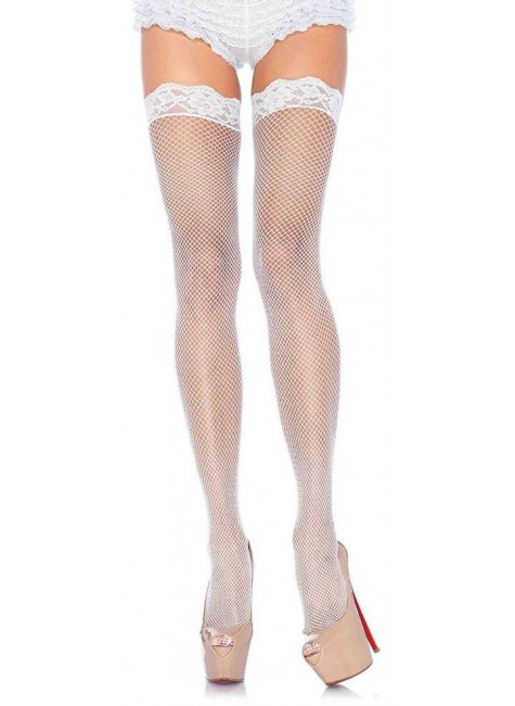 Fishnet Garter Stockings with Lace Top - White at Gothic Plus, Gothic Clothing, Jewelry, Goth Shoes & Boots & Home Decor