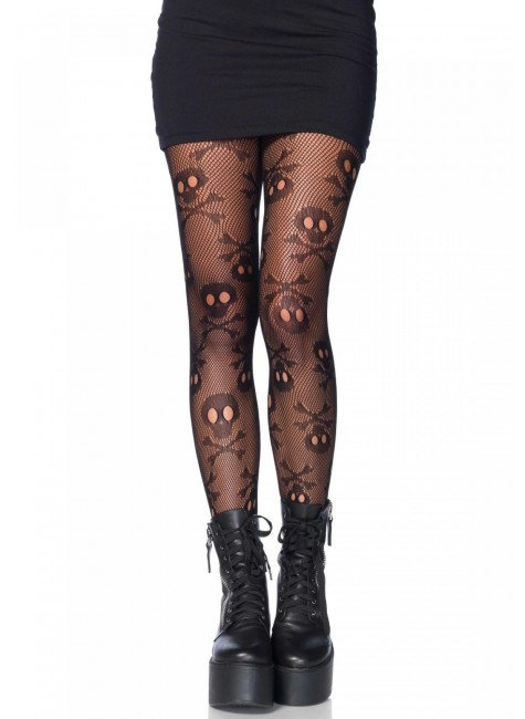 Pirate Skull and Crossbones Pantyhose at Gothic Plus, Gothic Clothing, Jewelry, Goth Shoes & Boots & Home Decor