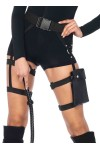 Strappy Black Utility Belt with Leg Garter
