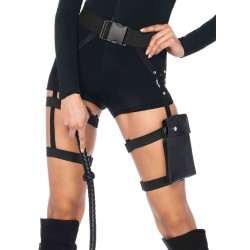 Strappy Black Utility Belt with Leg Garter Gothic Plus Gothic Clothing, Jewelry, Goth Shoes & Boots & Home Decor