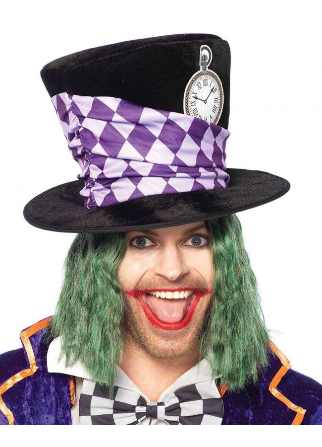 Adult Gothic Mad Hatter Dark Tea Party Top Hat Wig Hair Fancy Dress Halloween
