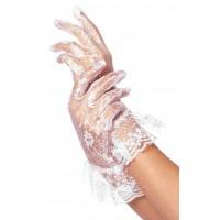 White Ruffled Lace Wrist Length Gloves