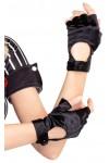 Fingerless Black Snap Satin Gloves