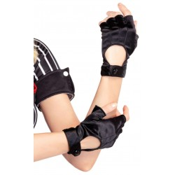 Fingerless Black Snap Satin Gloves Gothic Plus Gothic Clothing, Jewelry, Goth Shoes & Boots & Home Decor