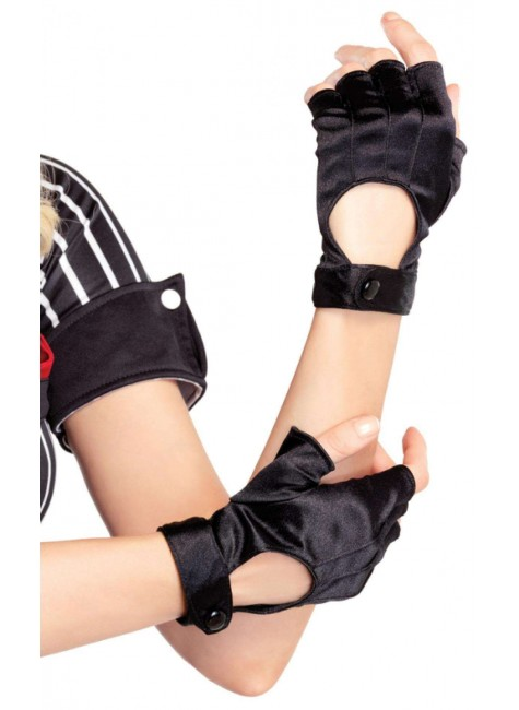Fingerless Black Snap Satin Gloves at Gothic Plus, Gothic Clothing, Jewelry, Goth Shoes & Boots & Home Decor