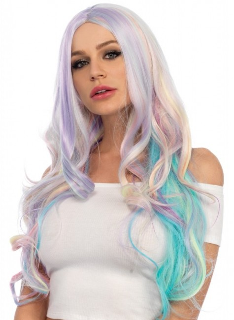 Pastel Rainbow Long Wavy Wig at Gothic Plus, Gothic Clothing, Jewelry, Goth Shoes & Boots & Home Decor