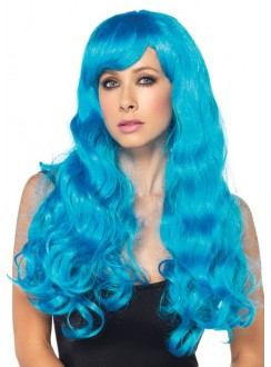Neon Blue Long Wavy Wig Gothic Plus Gothic Clothing, Jewelry, Goth Shoes & Boots & Home Decor