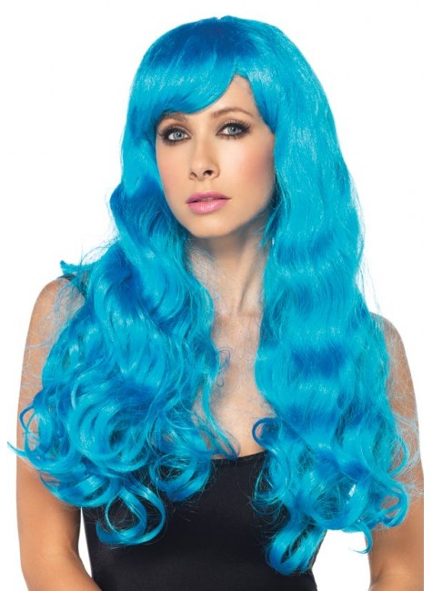 Neon Blue Long Wavy Wig at Gothic Plus, Gothic Clothing, Jewelry, Goth Shoes & Boots & Home Decor