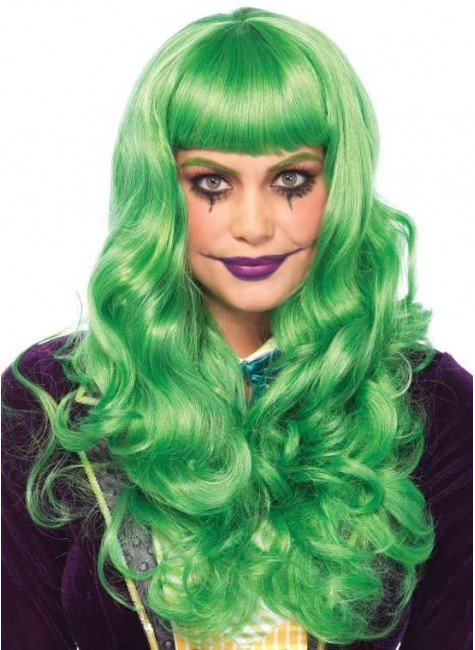 Misfit Mayhem Long Green Wavy Wig at Gothic Plus, Gothic Clothing, Jewelry, Goth Shoes & Boots & Home Decor