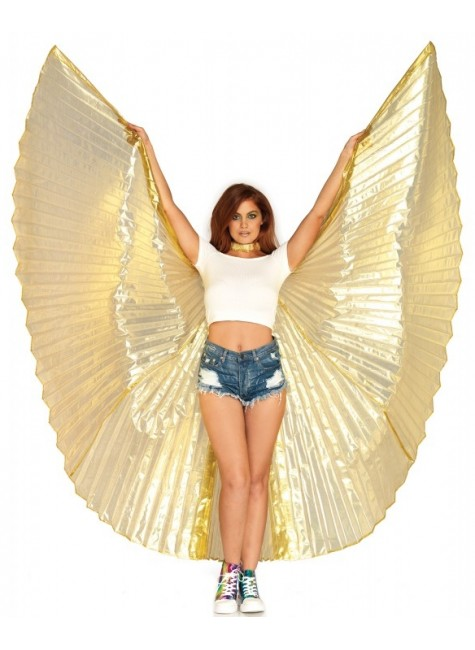 Isis Gold Pleated Festival Wings at Gothic Plus, Gothic Clothing, Jewelry, Goth Shoes & Boots & Home Decor