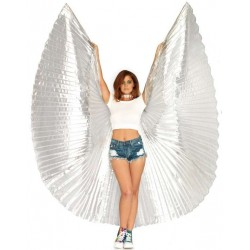 Isis Silver Pleated Festival Wings Gothic Plus Gothic Clothing, Jewelry, Goth Shoes & Boots & Home Decor