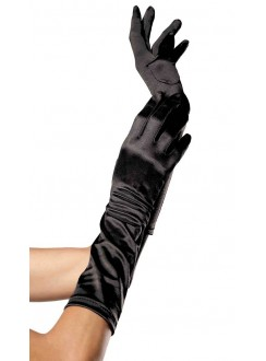 Black Satin Elbow Length Gloves